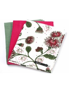 Kitchen Towel Gift Set Red Green on White
